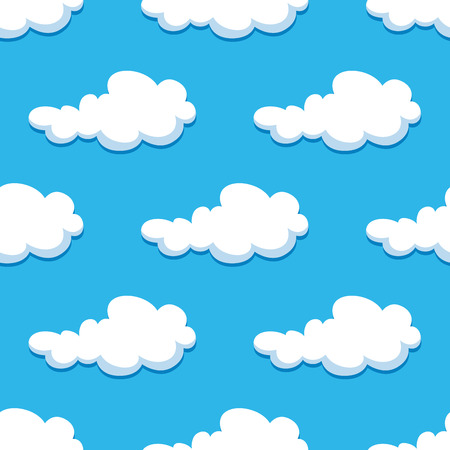 White curly clouds on blue summer sky seamless background in cartoon style for childrens party decoration or wallpaper design Vector