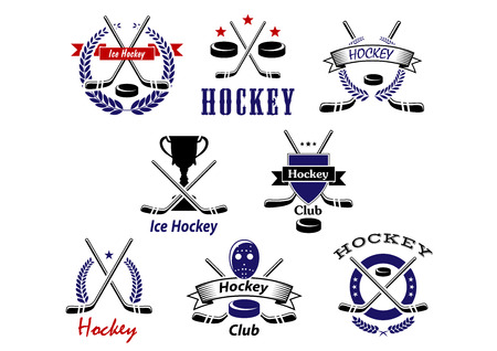 hockey background: Sporting emblems or badges for ice hockey club or team design showing crossed sticks, pucks, protective mask and trophy cup framed heraldic shield, ribbon banners, laurel wreaths Illustration