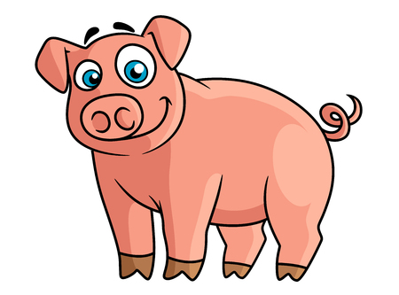 curly tail: Cute cartoon pink pig with rounded snout, little brown hoofs and funny curly tail suitable for farm animals concept or agriculture design