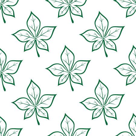 ornamental bush: Foliage seamless background with green stylized chestnut leaves repeated motif in outline sketch style for textile design
