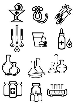 goteros: Medicina o drogas iconos en el estilo de dibujo de esquema con botellas, pastillas, cápsulas, jeringas, gotas, tubos, goteros, el estetoscopio y el símbolo de farmacia por farmacia o diseño medicamento