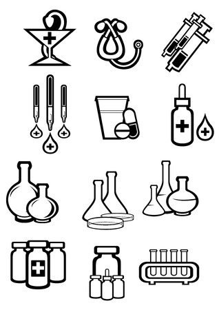 medicament: Medicine or drugs icons in outline sketch style with bottles, pills, capsules, syringes, drops, tubes, droppers, stethoscope and pharmacy symbol for drugstore or medicament design