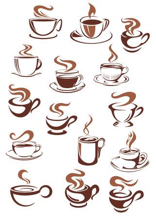 logos restaurantes: Tazas de Brown y tazas de caf� fuerte aroma caliente, caf� o dulce capuchino, caf� con leche, chocolate en el estilo de dibujo del doodle de caf� o cafeter�a de dise�o