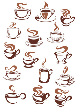 Brown cups and mugs of strong aroma hot coffee, espresso or sweet cappuccino, latte, chocolate in doodle sketch style for cafe or coffee house design Vettoriali