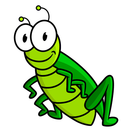 grasshoppers: Funny bright green grasshopper cartoon character with big googly eyes and small antennas isolated on white background for children design Illustration