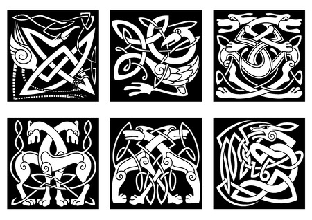 bird  celtic: Celtic styled abstract animals and birds decorated ornament in traditional ethnic irish style on black background for tattoo or totem design