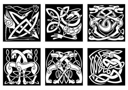 keltische muster: Celtic styled abstrakte Tieren und Vögeln verziert Ornament in traditionellen ethnischen irischen Stil auf schwarzem Hintergrund für Tätowierung oder totem Design Illustration