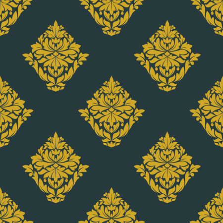 Yellow seamless floral pattern with abstract victorian stylized flowers composed of lush curly leaves and tendrils twirls on dark gray background for luxury wallpaper  and fabric design