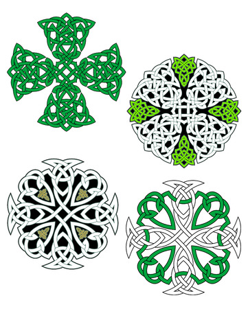 Knotted celtic ornate crosses with traditional ethnic ornament in green and white colors for tattoo or medieval art design Illustration