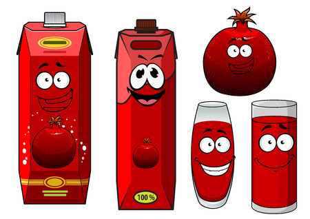 pomegranate juice: Bright red cartoon pomegranate fruit with cardboard packs of pomegranate juice and filled glasses for food design Illustration