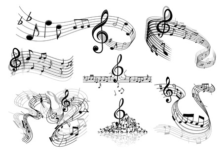 Abstract sheet music design elements depicting music staves with treble clefs, notes, clef signs with shadows and reflections isolated on white background Illustration