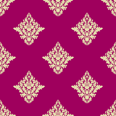 twirls: Beige floral seamless pattern on hot pink background with victorian stylized delicate flowers decorated carved leaves and twirls for luxury wallpaper or fabric design Illustration