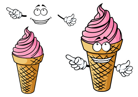 pack ice: Cartoon happy pink ice cream character depicting cold sweet dessert with strawberry flavor in waffle cone for food pack or wrapping design