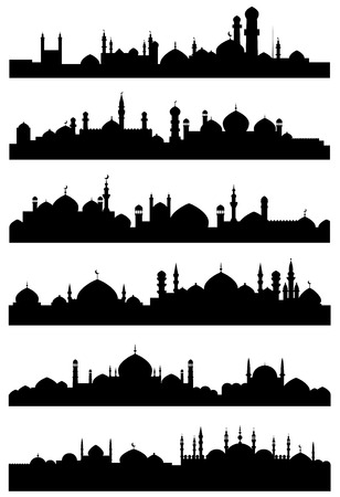 Black silhouettes of muslim cityscape shoving mosques, minarets with crescents on the tops of dome roofs and castles with high towers for traveling or religious design