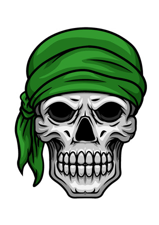 bared teeth: Cartoon scary skull with sullen bared teeth in green bandana isolated on white background for halloween party or t shirt print design