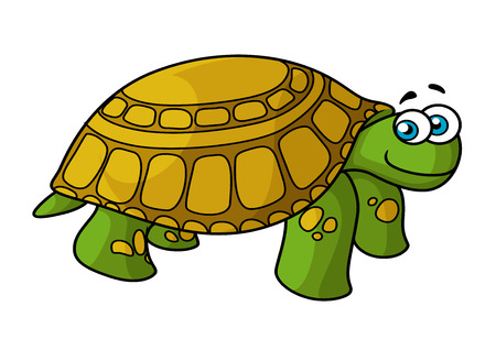 Cartoon smiling green turtle character with yellow spotted hard carapace isolated on white background for nature concept or fairy tail design Ilustração