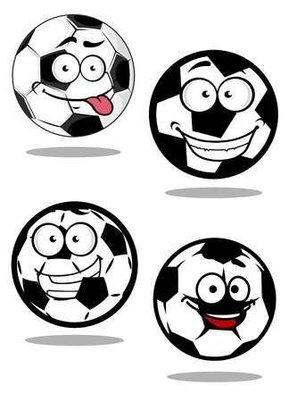Football or soccer balls cartoon characters with googly eyes and smiling faces suitable for sporting mascot or logo design Vector
