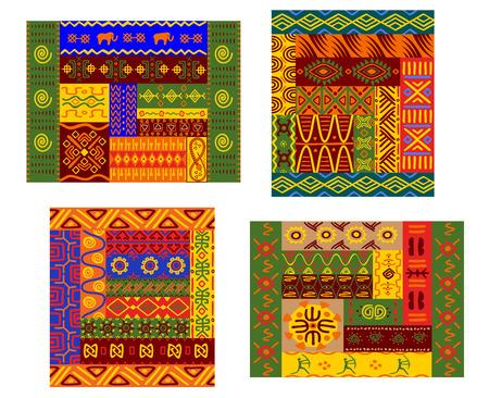 カラフルな原始的な幾何学的な植物と動物飾り布印刷やタペストリーに最適の民族のアフリカ パターン  イラスト・ベクター素材