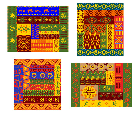 fabric art: Ethnic african pattern with colorful primitive geometric plant and animal ornament suitable for fabric print or tapestry design