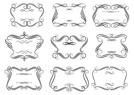 curlicue: Decorative curlicue cartouches or frames in retro romantic style with curly borders isolated on white background suitable for vintage invitation or greeting card design Illustration