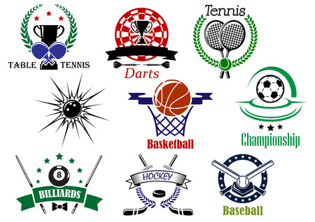 Team sports emblems and logo for football or soccer, ice hockey, darts, basketball, billiards, tennis, bowling, baseball, table tennis with sporting equipments and heraldic design elements