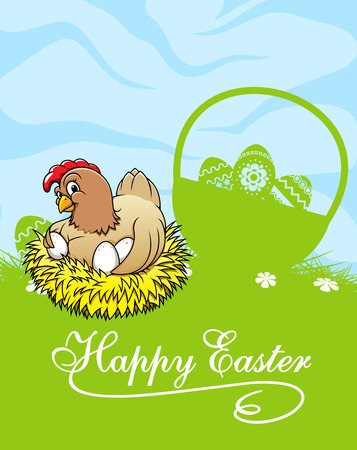 Easter Greeting Card Template In Cartoon Style Depicting Green