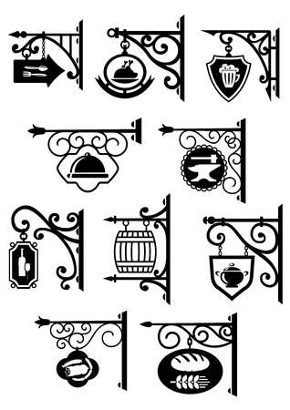Vintage hanging signboard decorative forging elements with bakery, butcher shop, restaurant, pub, bar and workshop symbols