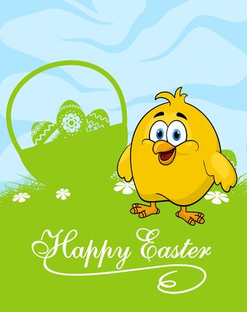 Glückliche Ostern-Grußkarte Vorlage Darstellung niedlichen Cartoon gelbes Huhn stehend in der Nähe Korb mit verzierten Ostereier auf der grünen Wiese mit Frühlingsblumen Standard-Bild - 36610216
