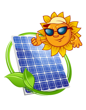 Blue solar power panel encircled by green leafy stalk and above them happy cartoon sun character in cap and sunglasses suited for alternative energy or ecological concept design
