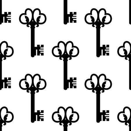 old keys: Vintage seamless black and white pattern with old keys decorated floral ornament suitable for fabric or background design