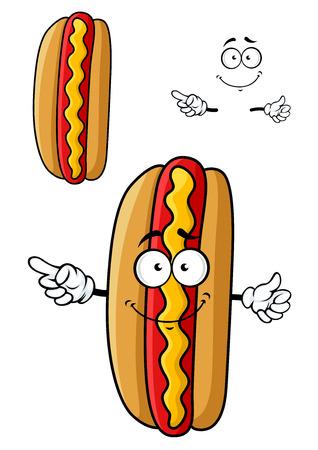 perro caliente: Sonriendo car�cter perro caliente de dibujos animados con pan fresco, chorizo ??rojo y l�nea ondulada de color amarillo de la mostaza para la comida r�pida o dise�o de la fiesta de barbacoa