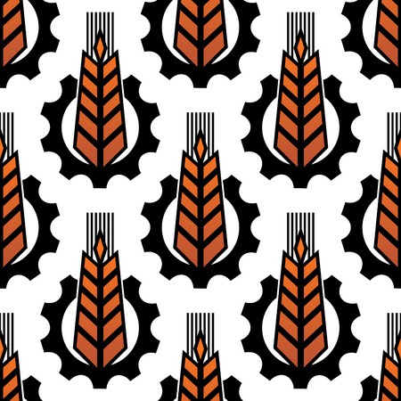 serrated: Seamless agriculture abstract pattern with repeated motif of yellow wheat ear in the middle of serrated gear on white background