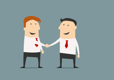 deal in: Cartoon businessman shaking hands congratulating each other with successful deal in flat style for business partnership concept design