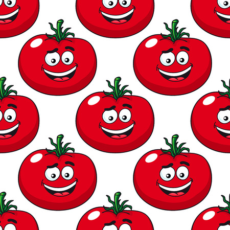 pulpy: Red ripe tomato seamless pattern in cartoon style with repeated motif of pulpy vegetables on white background for food pack or textile design