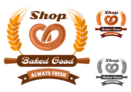 Bakery shop emblem or logo in yellow, orange and gray color variations showing fresh pretzel encircled wheat ears, wooden rolling pin and ribbon banner with stars and text Always Fresh, Baked Good