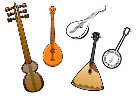 balalaika: Balalaika, banjo, domra, dombra, kemenche musical instruments in cartoon and outline sketch style for orchestra and band design