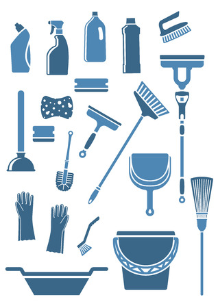 Domestic tools and supplies for cleaning including mop, broom, bucket, brushes, gloves, sponges, dustpan, plunger, squeegee and detergent bottles in blue colors