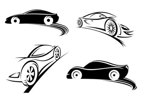 icono deportes: Siluetas negras de coche de carreras de velocidad de deportes en el estilo de dibujo aislados sobre fondo blanco para el diseño de carreras