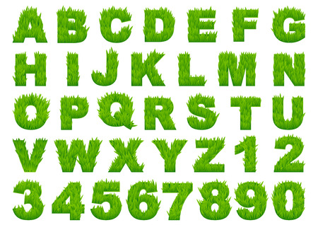 Grass alphabet depicting letters and numbers with spring green grass texture for education or ecology concept design Zdjęcie Seryjne - 36610269