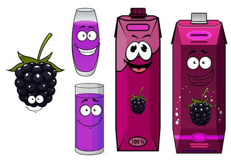 fruit stalk: Cartoon smiling blackberry juice characters depicting dark blue fresh blackberry fruit with lush green stalk, cardboard packs and glasses of juice for promotion or healthy nutrition concept design