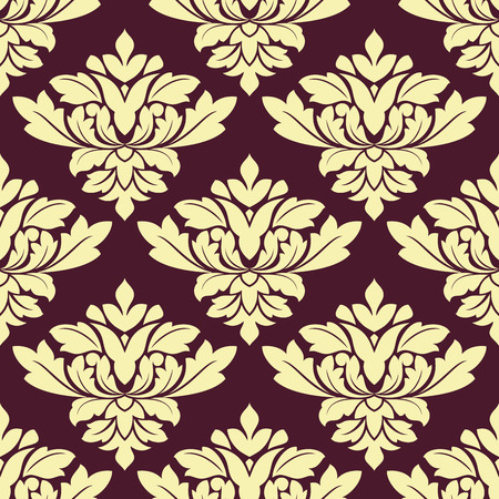 Beige densely floral seamless pattern with bold lush flowers decorated carved leaves tracery on dark violet background for wallpaper or interior design