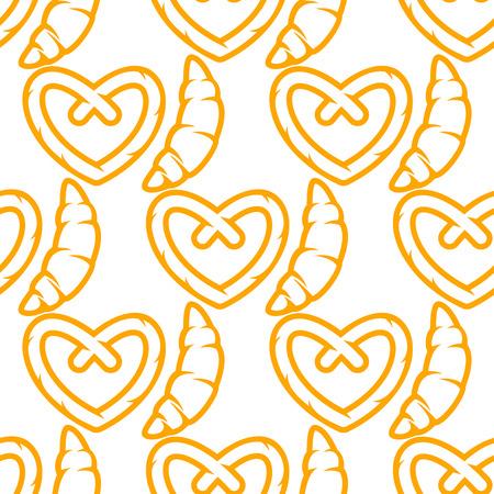 salty: Seamless bakery pattern with outline yellow traditional french croissants and german crunchy salty pretzel on white background for textile or wrapping design