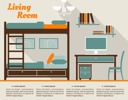 bunk bed: Living room modern interior design infographic in flat style including bunk bed with stairs, table with desktop computer, chair, bookshelves, chandelier and text layout