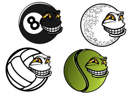 Cartoon traditional sports balls characters for tennis, golf, volleyball, billiard with grinning faces suited sporting mascot design Vector