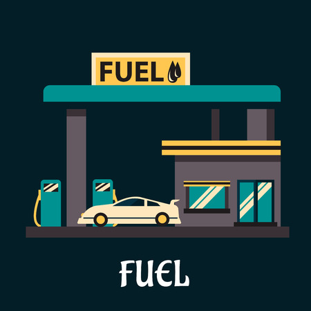 pump: White car dressed with gasoline on fuel station. Flat style illustration for transportation or oil industry design