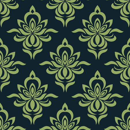 dainty: Seamless pattern of abstract orchid flowers with dainty petals in shades of green suitable for fabric or background design Illustration