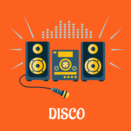 subwoofer: Disco party concept in flat style showing audio or karaoke system with microphone and sound waves above them on orange background with caption Disco
