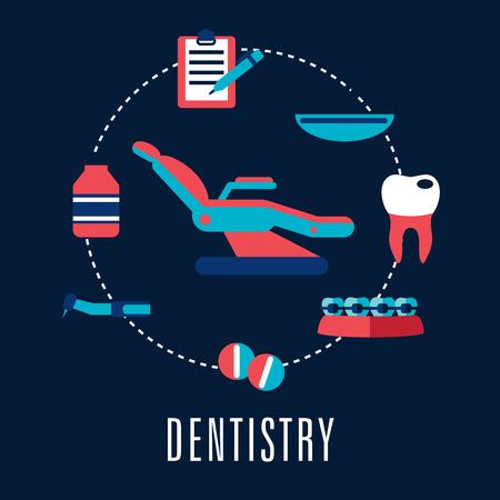 sillon dental: Concepto Odontolog�a con silla dental rodeado m�dica iconos que representan las p�ldoras, taladro dental, diente cariado, aparatos ortop�dicos, botellas de la medicina, la bandeja m�dico y el portapapeles con la pluma. Estilo Flat Vectores