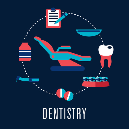 carious: Dentistry concept with dental chair surrounded medical icons depicting pills, dental drill, carious tooth, braces, bottle of medicine, medical tray and clipboard with pen. Flat style