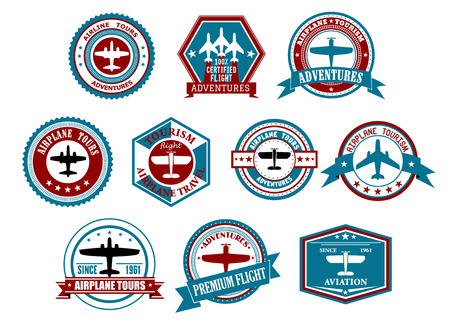 Retro airline tourism and travel labels or badges with silhouettes of planes in different frames decorated ribbon banners, stars and waves for travel agency or transportation design